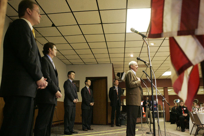 Former U.S. Senator Dan Coats speaks during the debate. Also pictured are (left to right) Don Bates Jr., Richard Behney, John Hostettler, Marlin Stutzman and Nate LaMar.Former U.S. Senator Dan Coats speaks during the debate. (C-T photo Max Gersh) ©2010