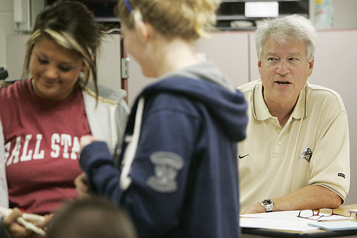 Bill Wessler wears his Purdue shirt Thursday afternoon while teaching a government class at New Castle Chrysler High School during College Go Week. (C-T photo Max Gersh) ©2010