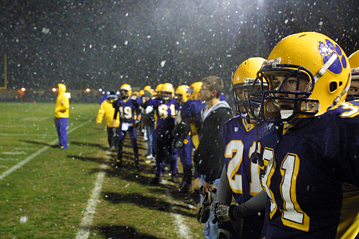 Hagerstown's Toby Fox looks out at game action from the sideline Friday night during a sectional championship against Knightstown. (C-T photo Max Gersh) ©2010