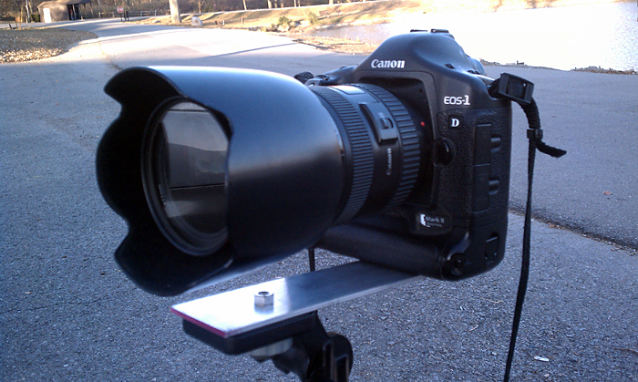 My Canon EOS 1D Mark II with 24-70 f/2.8 L lens on a DIY nodal point slide to acheive accurate panoramas. ©2010