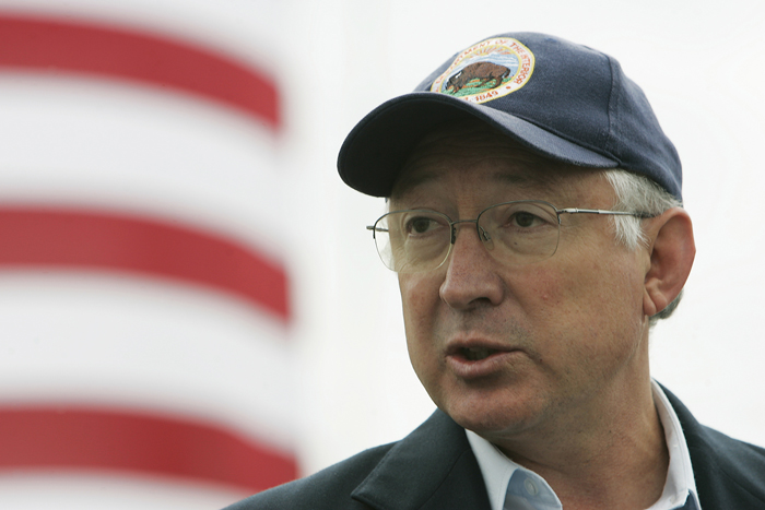 U.S. Interior Secretary Ken Salazar speaks to reporters at Gulf Island Fabrication in Houma, La., Monday, Nov. 22, 2010. (AP Photo/The Daily Comet, Max Gersh) ©2010