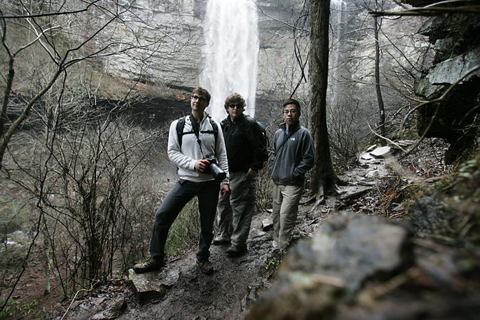 From left, Gavin Culbertson, Max Gersh and Yuefeng Deng at Fall Creek Falls. ©2011 Max Gersh