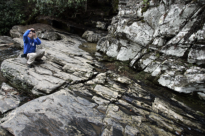 Yuefeng Deng at Abrams Falls near Townsend, TN. ©2011 Max Gersh