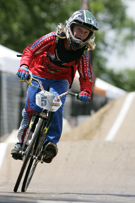 MAX GERSH | ROCKFORD REGISTER STAR Andres Papajohn, 9, of Gardnerville, Nev., rides off the track after a practice run Thursday, June 16, 2011 for the ABA BMX Midwest Nationals at Searls Park in Rockford. ©2011