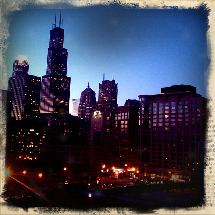 Downtown Chicago at dusk. Shot using Retro Camera on a Droid Incredible. ©2011 Max Gersh