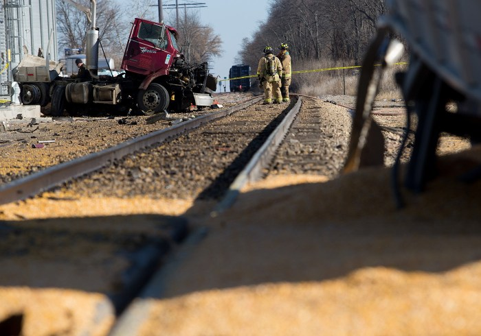 fatal train vs truck crash