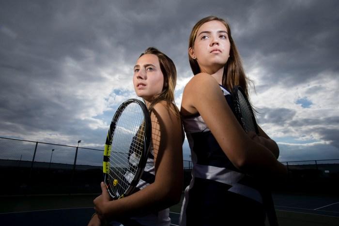 Belvidere North's starting doubles team, Leraaen Abbott (left), 17, and Kayla Vittore