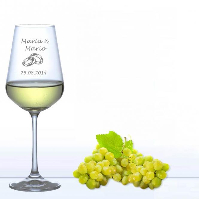 Weinglas Für Die Hochzeit Weißwein Ringe