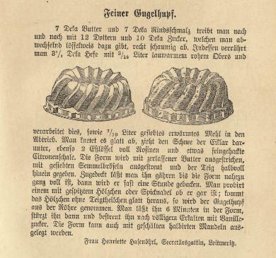 Gugelhupfrezept aus Anna Fink: Die Küche des Mittelstandes. Neues Wiener Kochbuch für jeden Haushalt. Wien: Moritz Stern 1907, S. 507 pwe Wikimedia