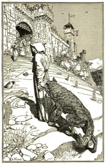 Francisus van Assisi leidt de wolf naar het dorp Gubbion. Ilustratie uit 1912. (foto Wikimedia)