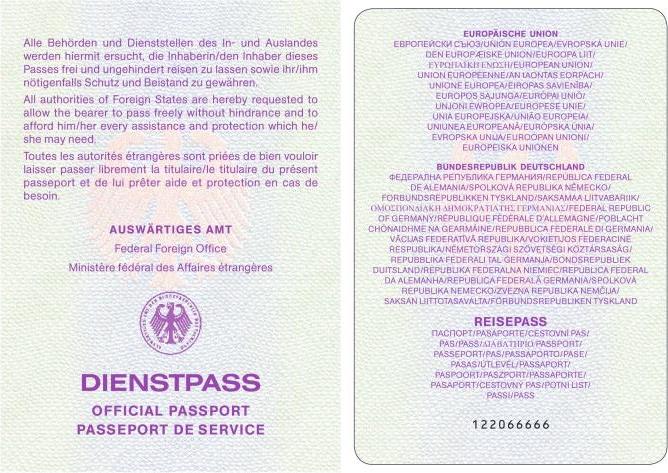 Amtlicher Lichtbildausweis der Deutschen Reichs - herausgegeben als Dienstpaß der Bundesrepublik Deutschland -  Fundstelle: BGBl. I 2007, 2421 - 2428