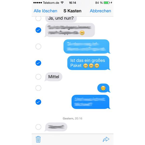 Mehr Funktionen in Apple iOS8 Text Nachrichten