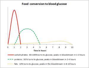 Food conversion to blood glucose chart