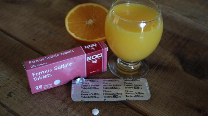 iron tablets and orange juice