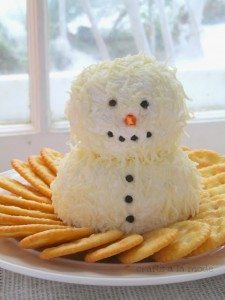 cheesey snowman recipe from Crafts a la mode