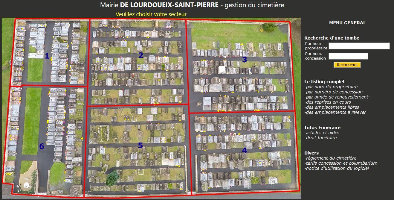 gestion informatique du cimetière 800 emplacements