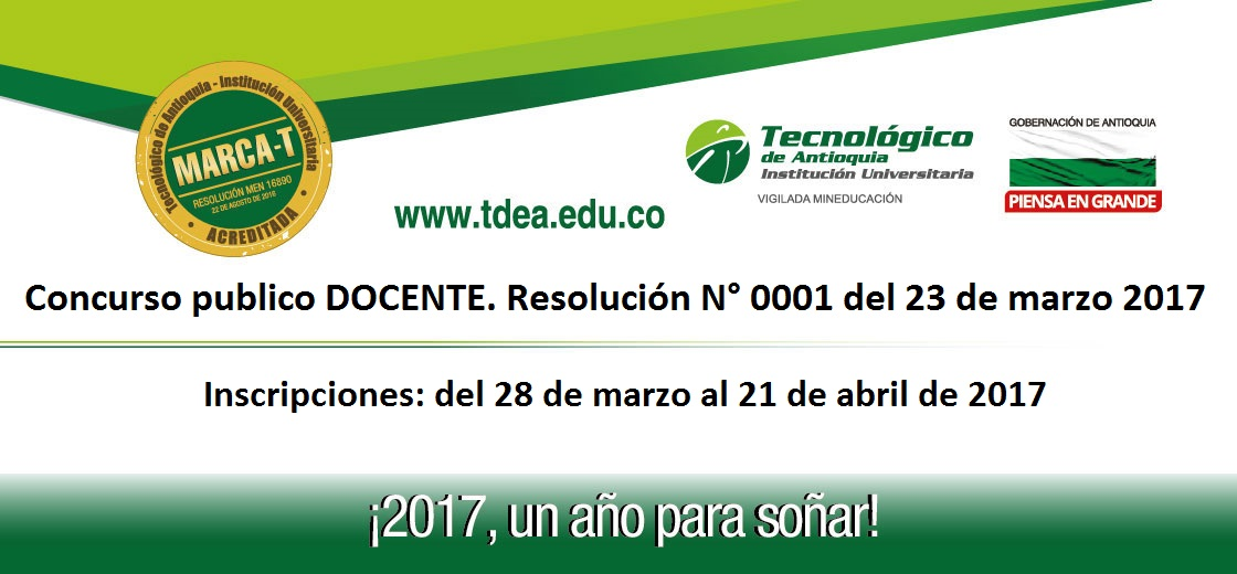 Concurso publico para docente tiempo completo 2017 tdea for Convocatoria de plazas docentes 2017