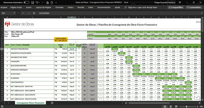 Esta é a nossa planilha de cronograma de obra. É possível observar na coluna do lado esquerdo as etapas de nossa obra, seu custo, mês de início e duração. E nas colunas da direita, é possível enxergar o percentual concluído da etapa e seu custo ao longo do meses.