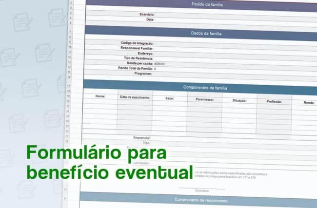 Benefício Eventual – Modelo de Formulário Grátis