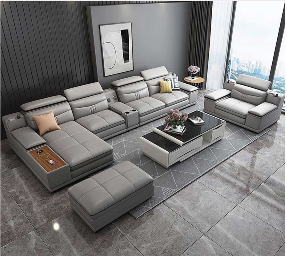 groton modern leather sectional sofa in light grey