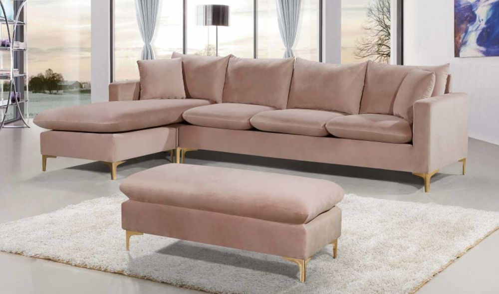 naomi velvet reversible sectional sofa in pink gold