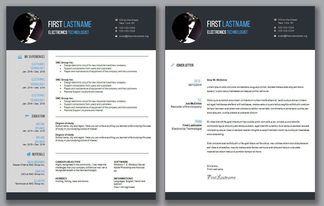 Cv Resume Template And Cover Letter 1 Get A Free Cv