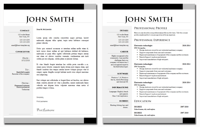 CV and Cover Letter Template Bundle #24