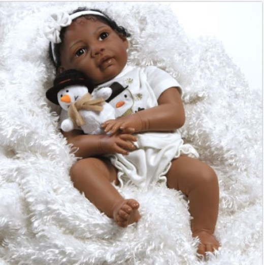 African American ethnic doll realistic reborn baby girl lifelike soft vinyl full image