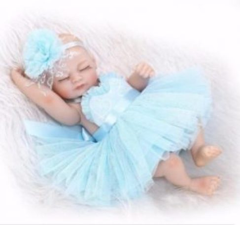"11"" Lifelike Reborn Sleeping Girl Doll Full Silicone Vinyl Mini Baby Doll"