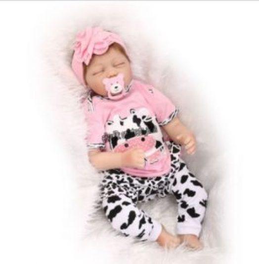 22''Handmade Lifelike Baby Girl Doll Silicone Vinyl Reborn Image