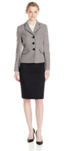 Le Suit Women's Dot Jacquard Jacket and Solid Skirt Image