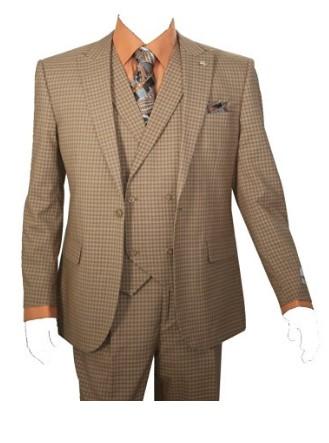 Men's 3 Piece Single Button Mini-Plaid Pattern Suit Image