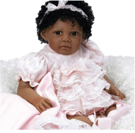 "Paradise Galleries African American Realistic Girl Baby Doll Chantilly, 20"" GentleTouch Vinyl, Weighted Body, Black Hair"