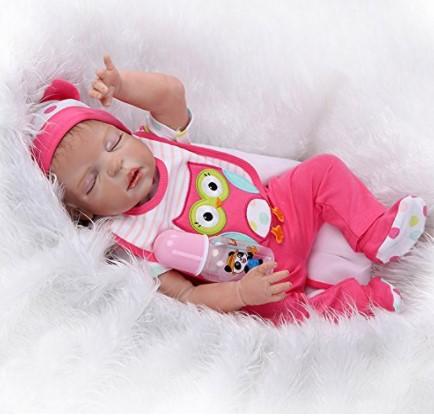 "Washable Reborn African American Doll 23/"" Lifelike Full Body Silicone Baby Dolls"