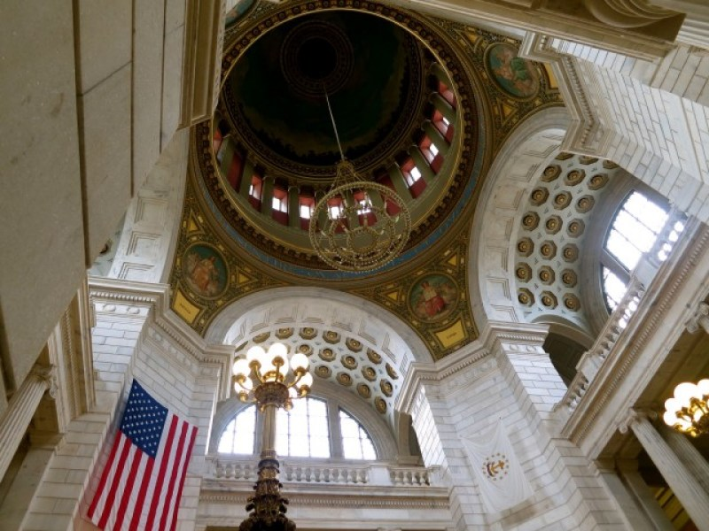Colorful mosaic and vibrantly painted dome interior, State House, Providence RI