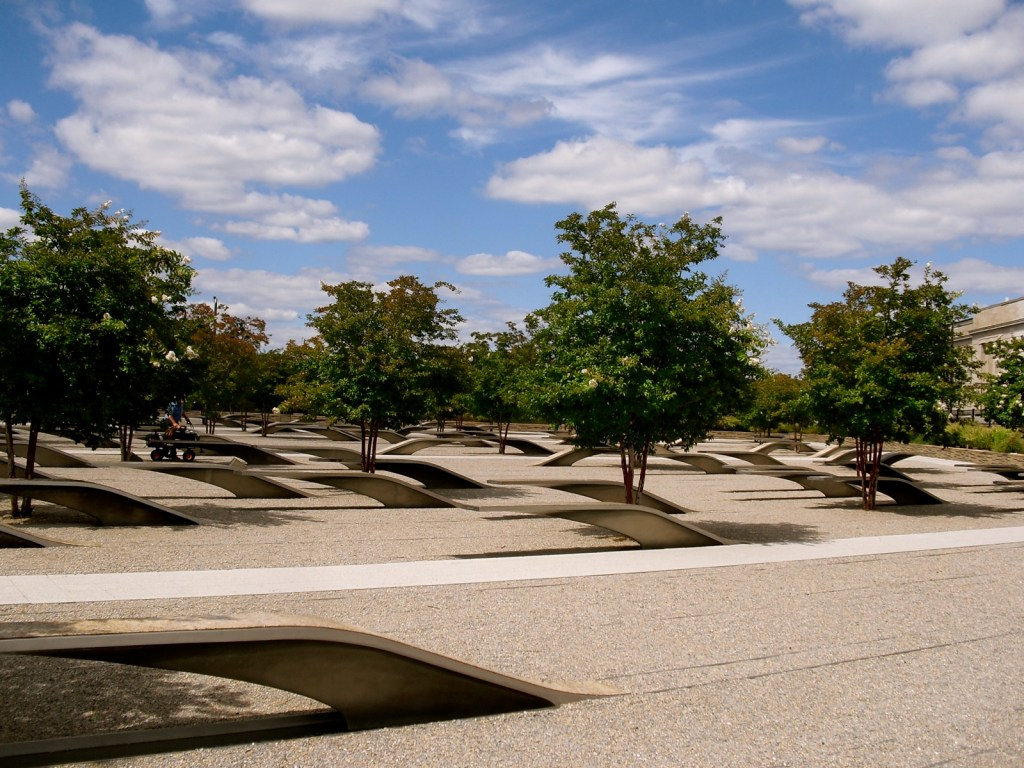 Solemn and serene wing-like benches at Memorial dedicated to those lost at the Pentagon on 9-11. Arlington VA