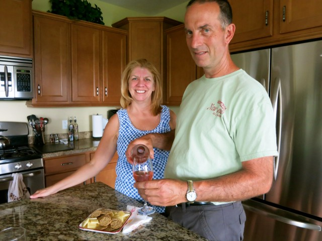 Preparing afternoon wine and cheese - Todd andPreparing afternoon wine and cheese - Todd and Dani Eichas, owners of New Vines B&B on Seneca Lake NY