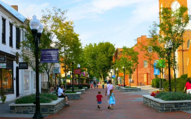 Old Town Winchester Pedestrian Mall at Sunset