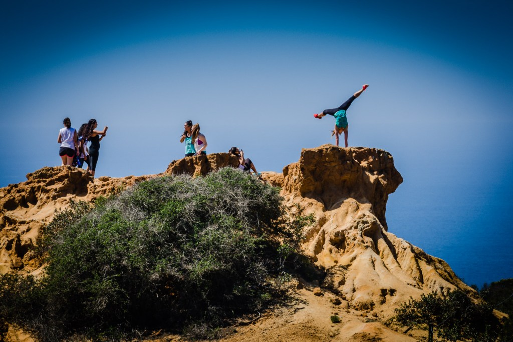 Yoga photo shots at Torrey Pines Pines State Naturals Reserve
