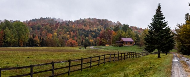 Fall foliage at an Adirondack farm.