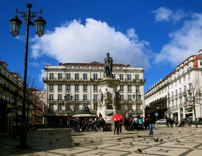 Square in Bairro Alto, Lisbon, Portugal