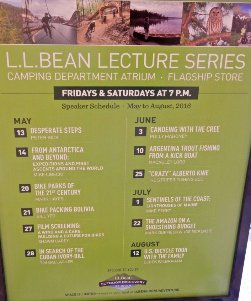 LL Bean Lecture Series, Freeport ME