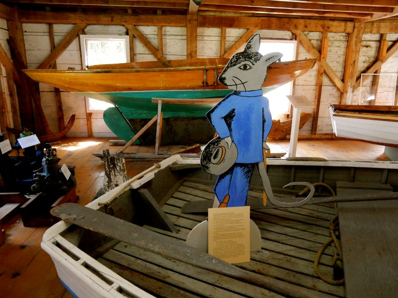 Stuart Little on boat, Penobscot Marine Museum