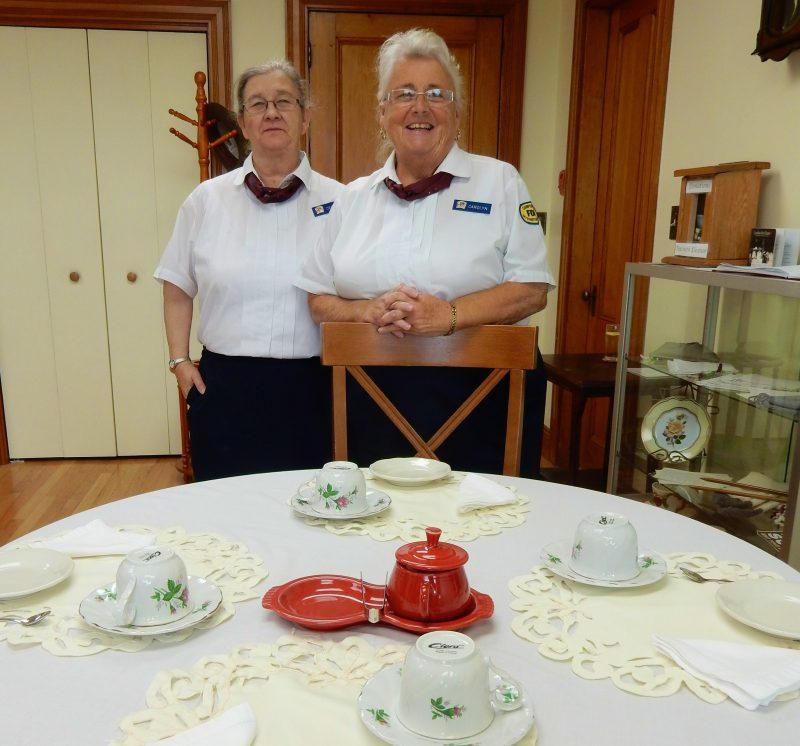 Carolyn Newman and Debbie Mitchell, docents, Tea With Eleanor, Campobello Island Canada