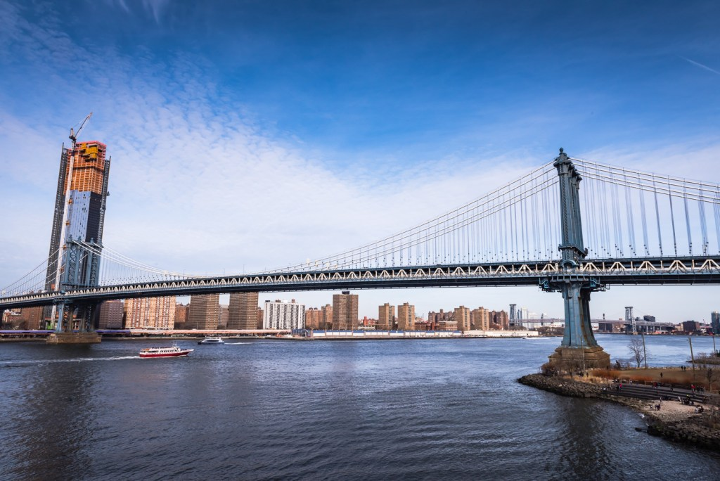 The Manhattan Bridge, as seen from @EmpireStores roof. The suspension bridge runs over the East River, connecting Lower Manhattan at Canal Street with Downtown Brooklyn at the Flatbush Avenue Extension.