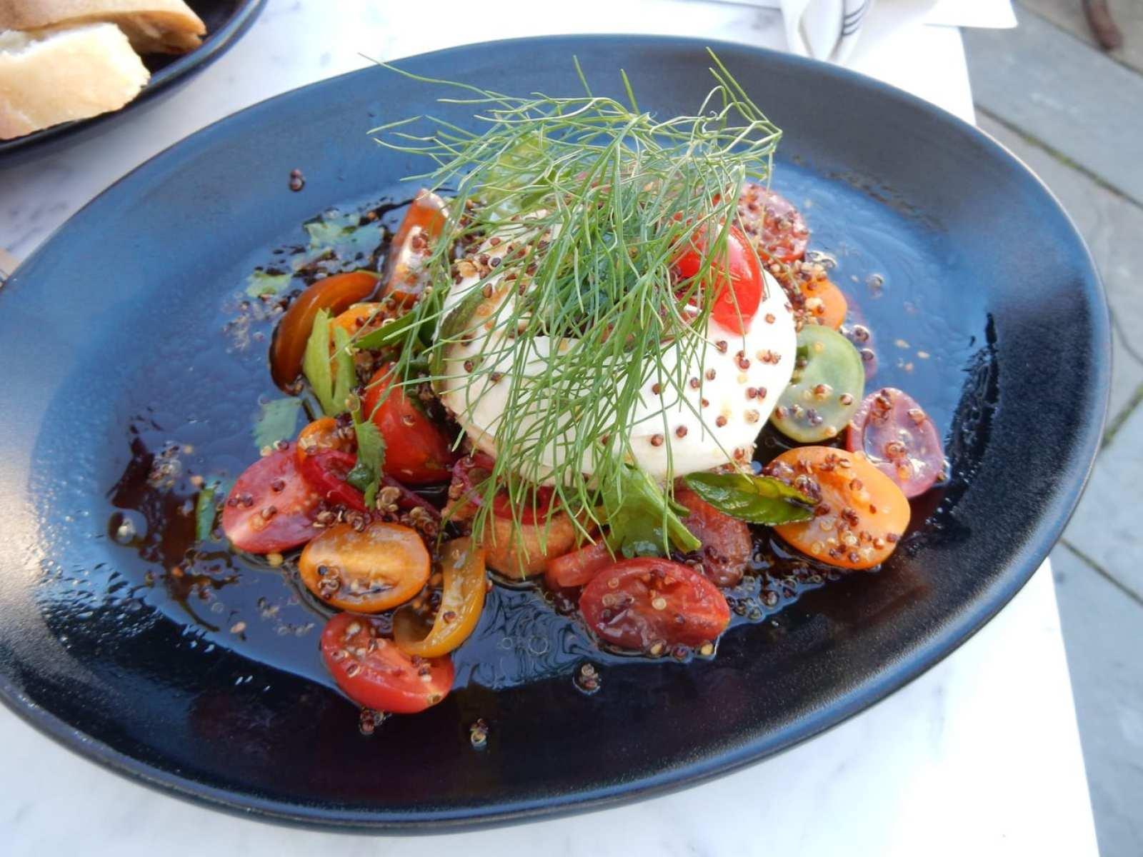 Burrata Salad, Strangers and Saints, Provincetown MA