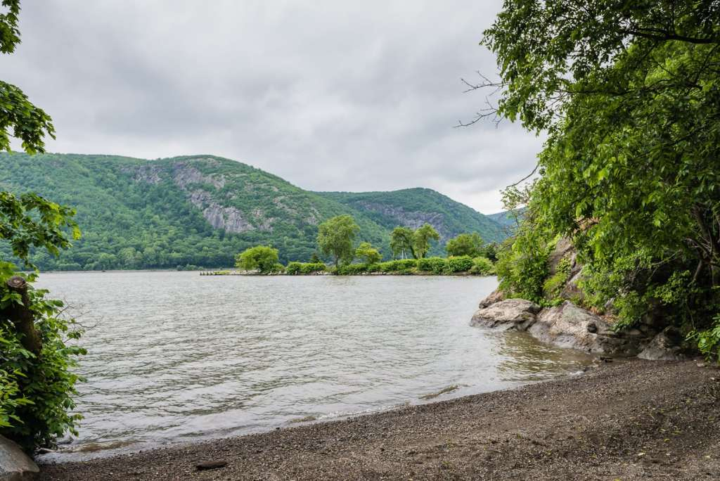 Beach shoreline at Foundry Dock Park in Cold Spring, NY.