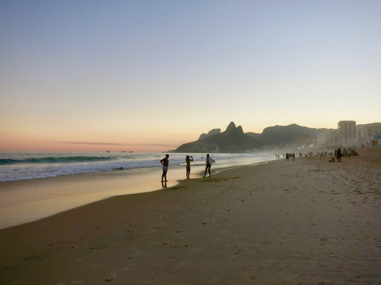 Ipanema Beach at sunset, Rio Brazil