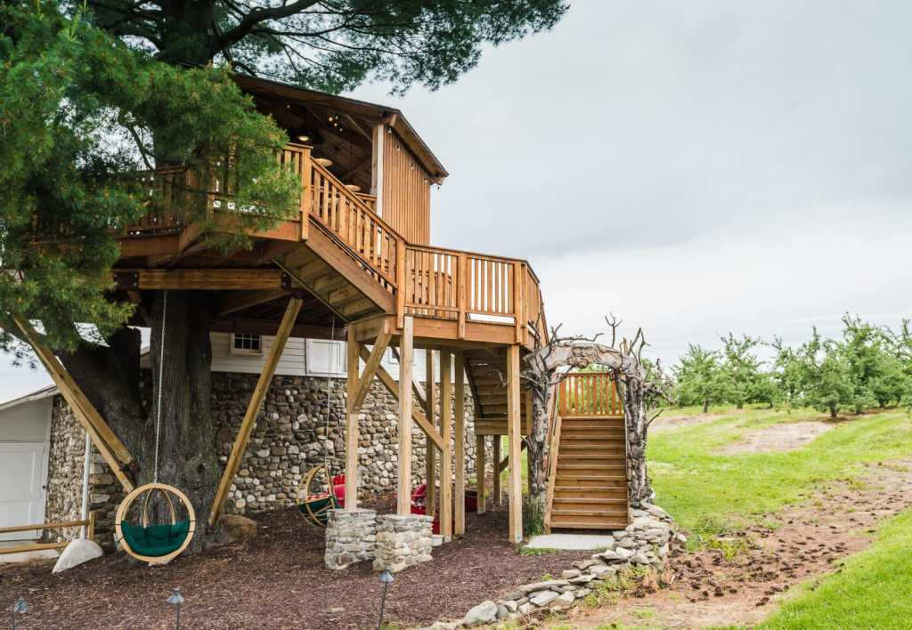 Exterior view of Angry Orchard Tree House