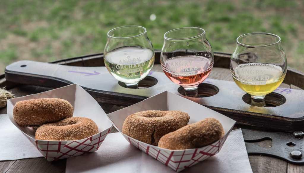 Cider samples served with cider donuts.